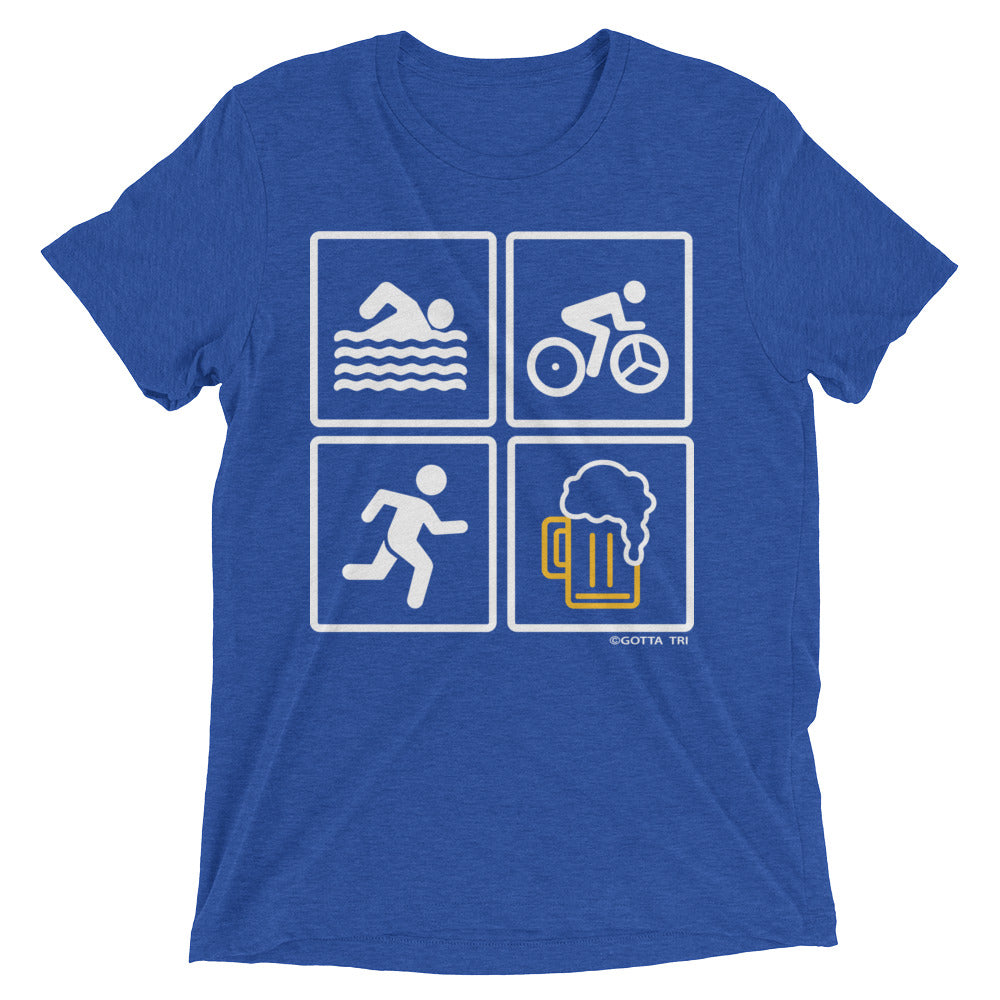 Swim, Bike, Run, Beer, Short sleeve Tri-Blend T-shirt