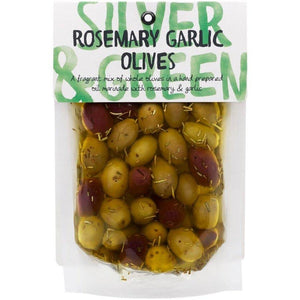 Silver and green rosemary garlic olives pouch