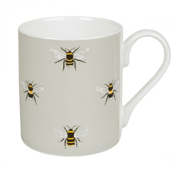 Sophie allport bone china mug bees bee design large mug green mug bees mug british made stoke on trent china stoke china local china