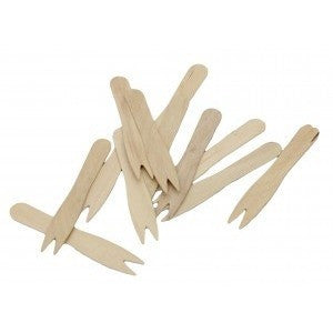 Wooden disposable chip forks. Ideal for parties, weddings, christenings or other celebrations. Team with newspaper chip cones