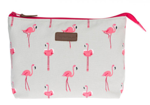 'Flamingos' canvas wash bag