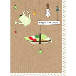 Dilly and pink happy birthday gardening card