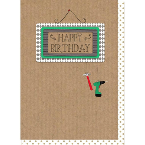 Dilly and pink happy birthday hanging tools card