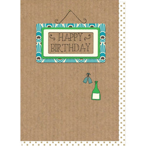 Dilly and pink happy birthday hanging wine bottle and glasses happy birthday card