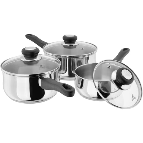 Judge vista stainless steel saucepan set 14cm 16cm 18cm 20cm dishwasher safe oven safe induction ready suitable 25 year guarantee
