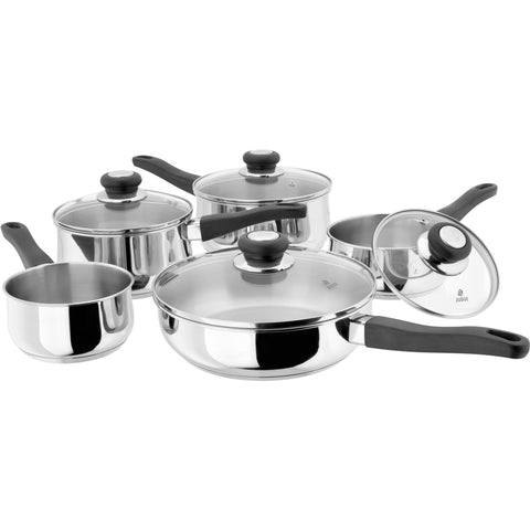 Judge vista original stainless steel saucepans 12cm 14cm 16cm 18cm 20cm 22cm glass lid induction ready oven safe dishwasher safe phenolic stay cool handle 5 piece set saucepan set milk pan saute pan