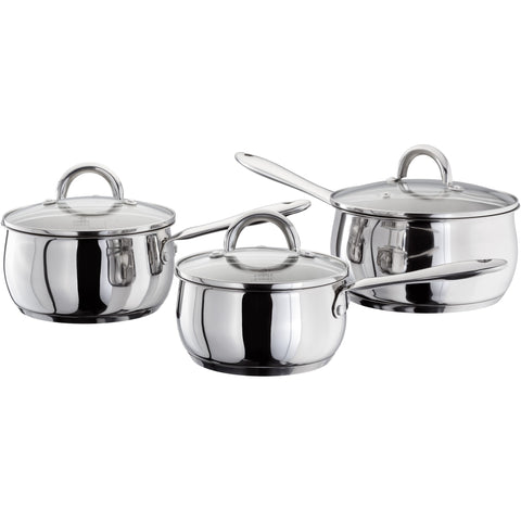 Judge classic stainless steel glass lid saucepan set suitable for induction 16cm 18cm 20cm dishwasher safe oven safe