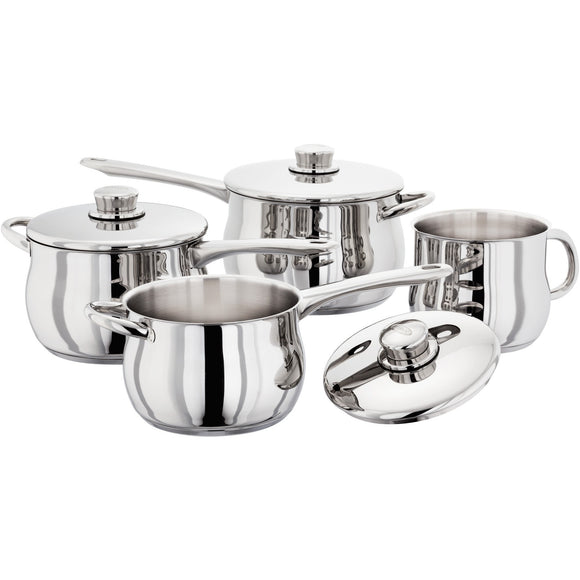 Stellar 1000 18/10 stainless steel deep saucepans 14cm, 16cm, 18cm, 20cm, 22cm induction ready suitable dishwasher safe oven safe lifetime guarantee