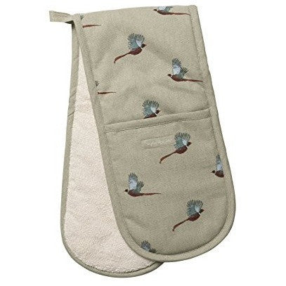 Sophie allport pheasant double oven gloves stone green heat resistant