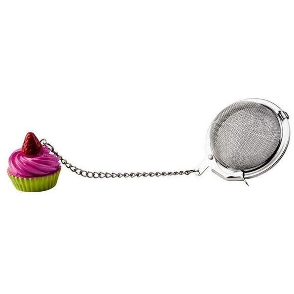Pink cupcake charm stainless steel mesh ball loose tea infuser kilo cks