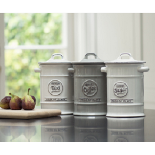 T&G Pride of place grey white canisters storage tea coffee sugar butter spoon rest teabag holder