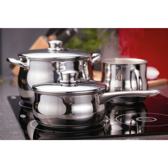 Stellar 1000 18/10 stainless steel saucepan set 16cm, 18cm, 20cm saucepans induction suitable dishwasher safe oven safe lifetime guarantee