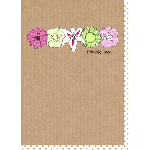 Dilly and pink thank you card with pink and green flowers