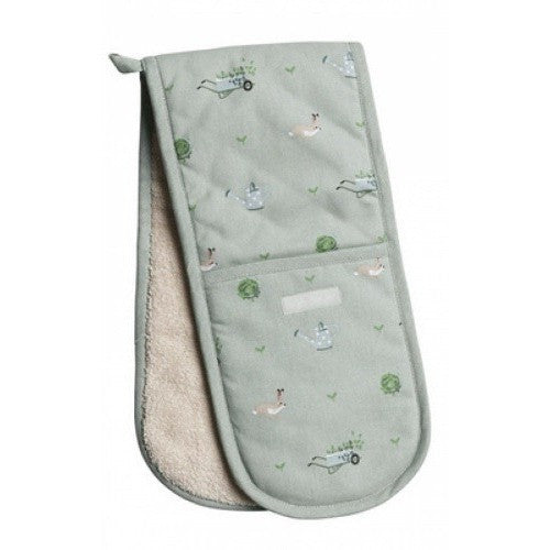 Sophie allport gardening double oven gloves heat resistant bunnies wheelbarrows seedlings cabbages