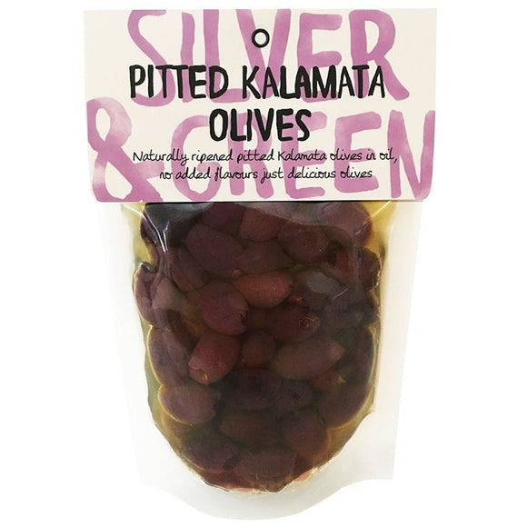 Pitted kalamata olives silver and green pouch