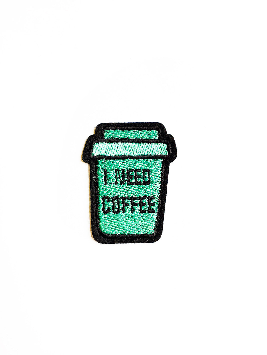 I Need Coffee Turquoise Cup Iron On Patch