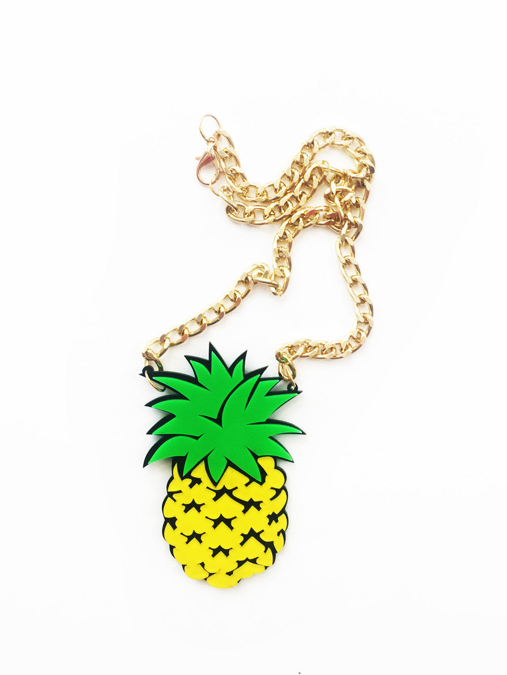 Acrylic Pineapple Gold Chain Necklace