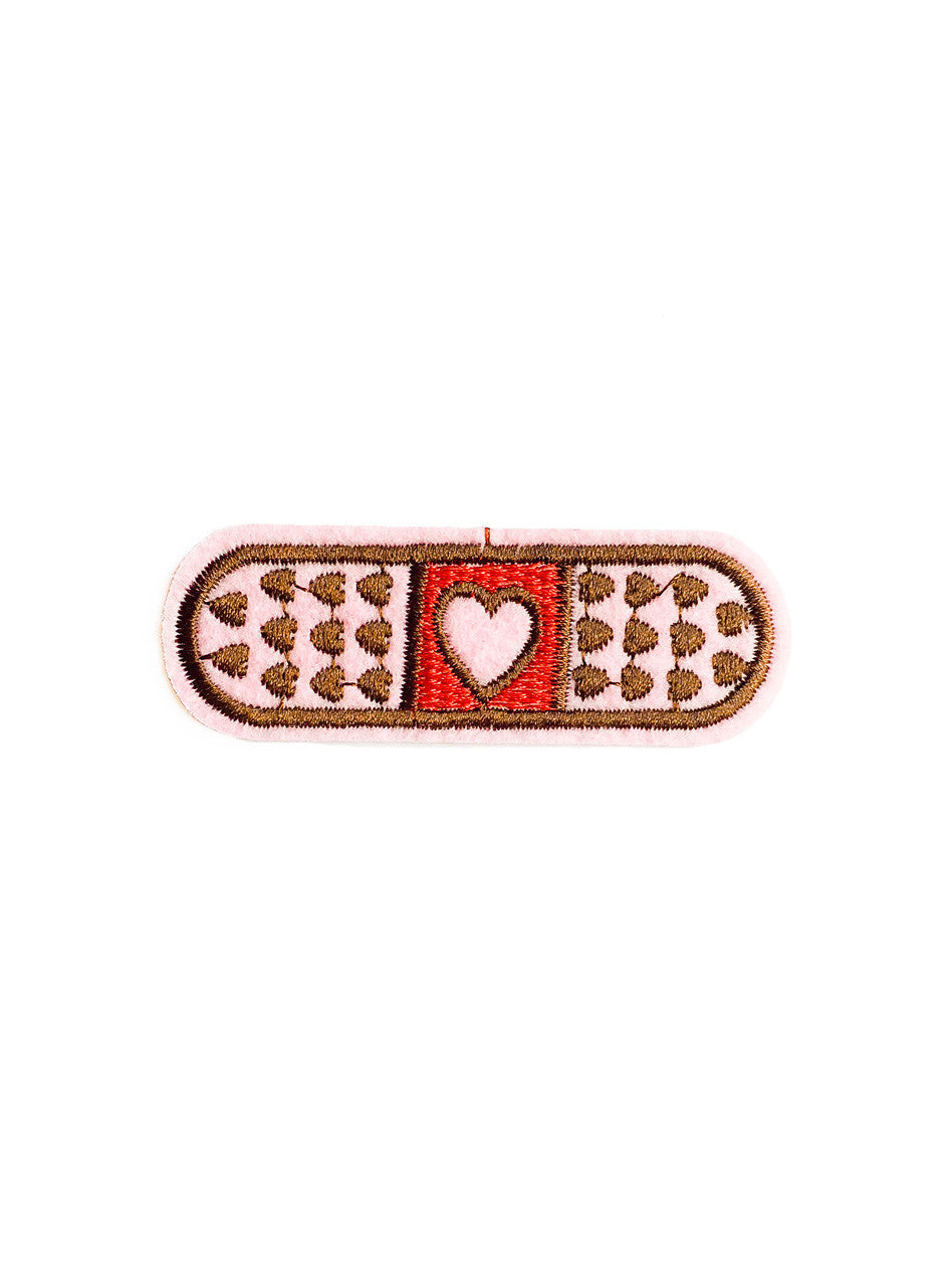 Pink Heart Band Aid Iron On Patch