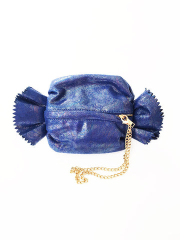 Blue Shimmer Candy Wristlet Clutch