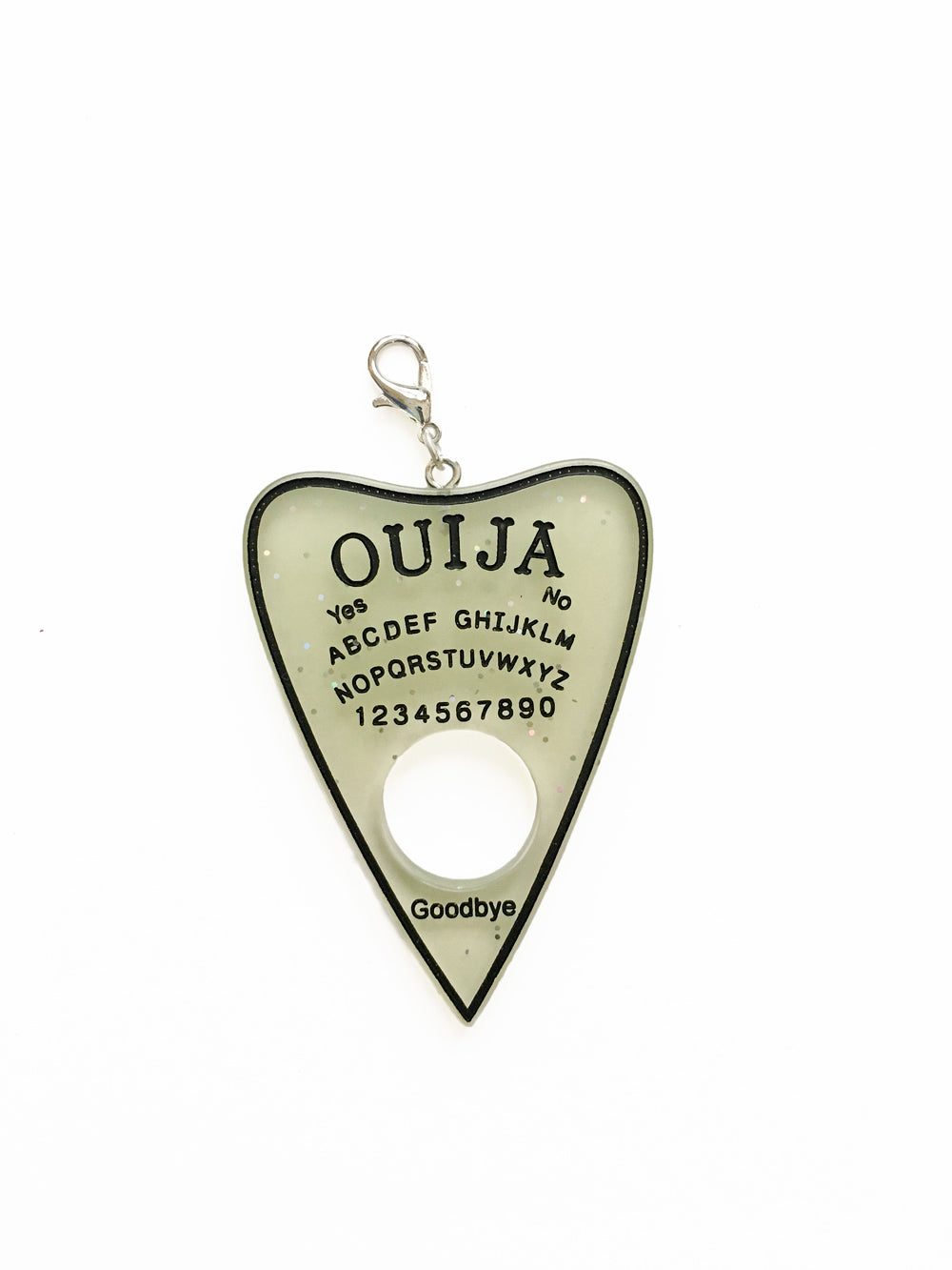 Glow in the Dark Ouija Planchette Zipper Pull Charm