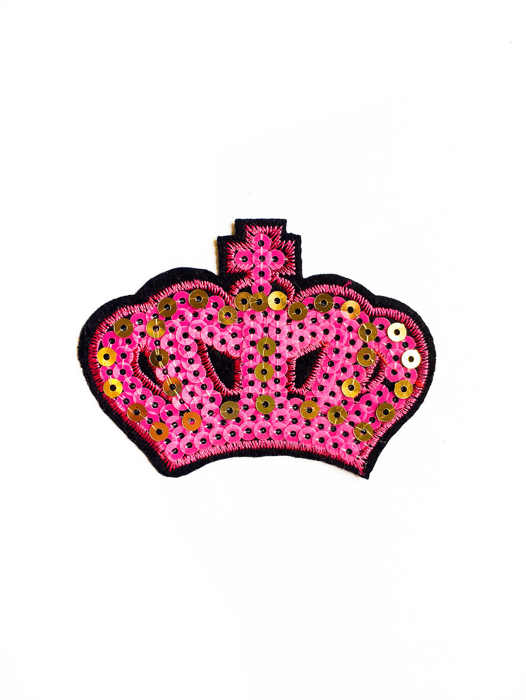 Hot Pink & Gold Sequin Crown Iron On Patch