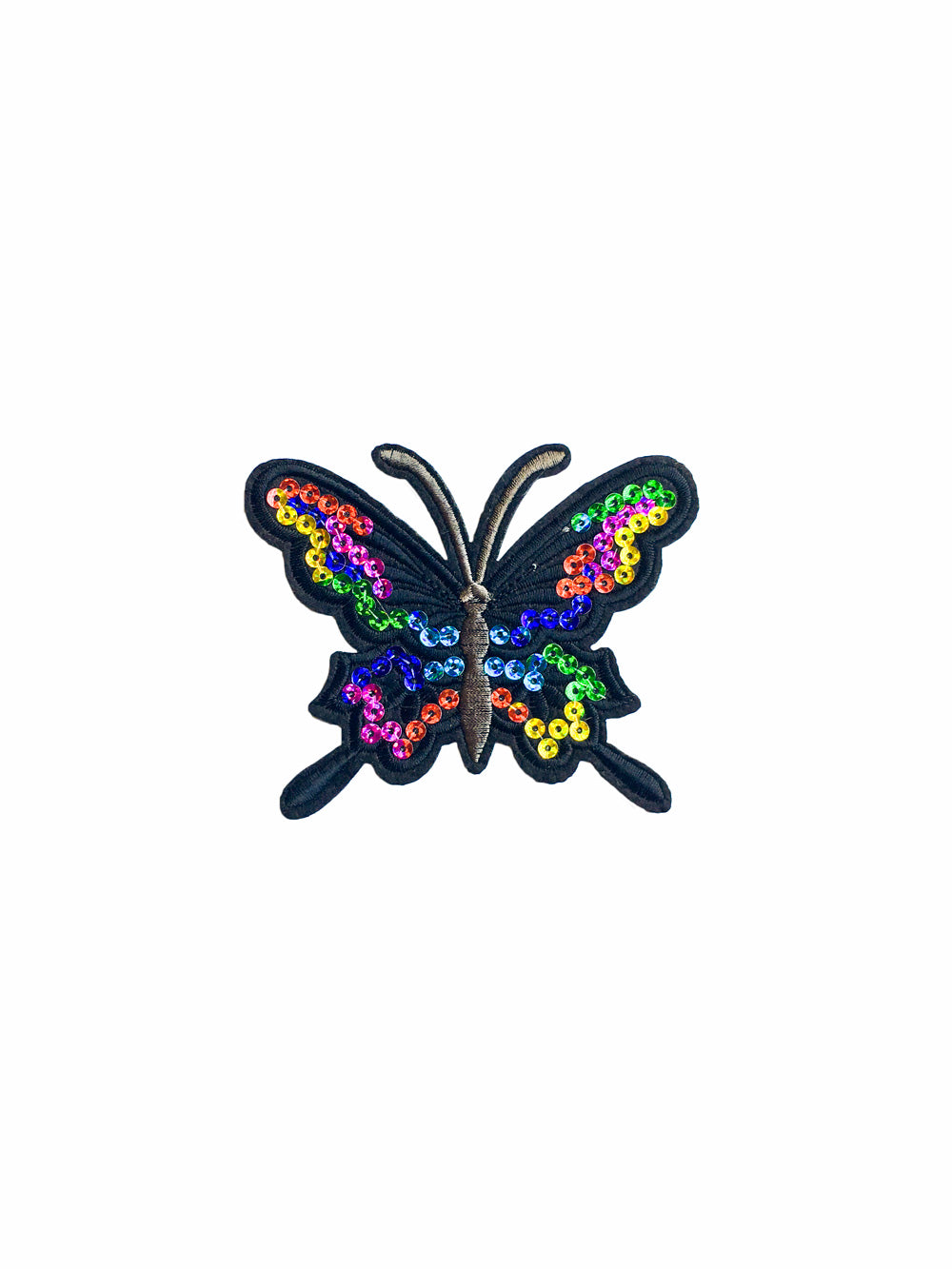 Large Sequin Rainbow Butterfly Iron on Patch