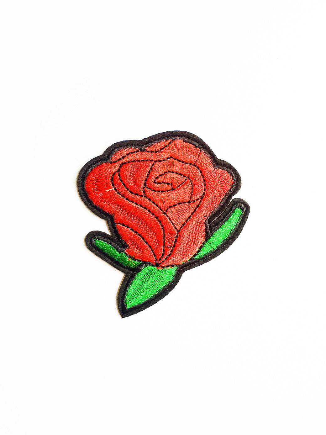 Large Red Rose Punk Iron On Patch