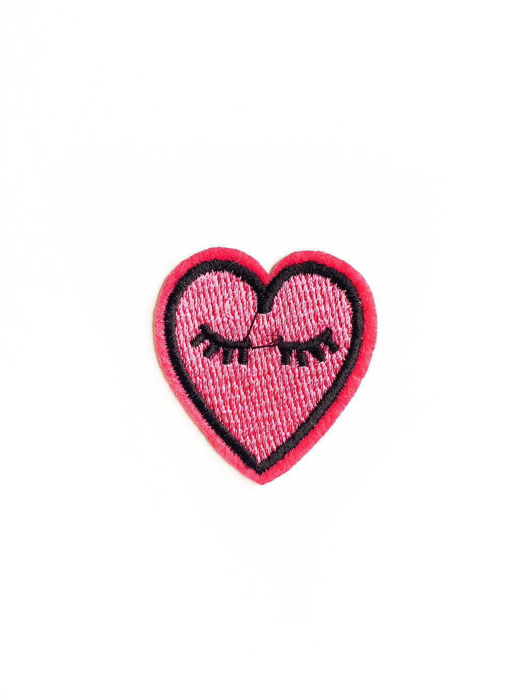 Lonely Pink Heart Iron On Patch