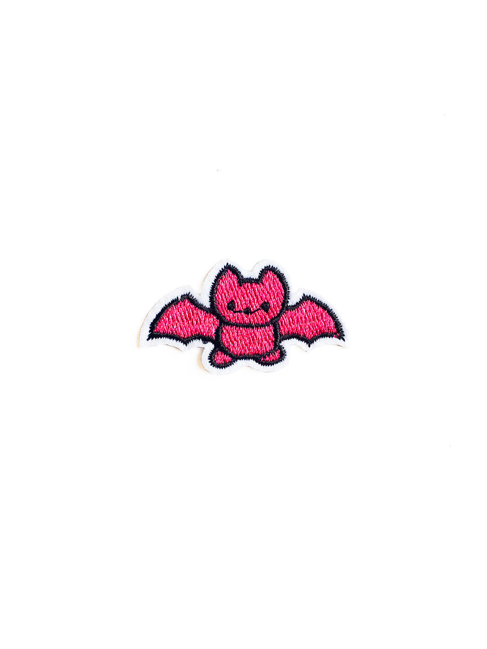 Mini Hot Pink Black Bat Iron On Patch