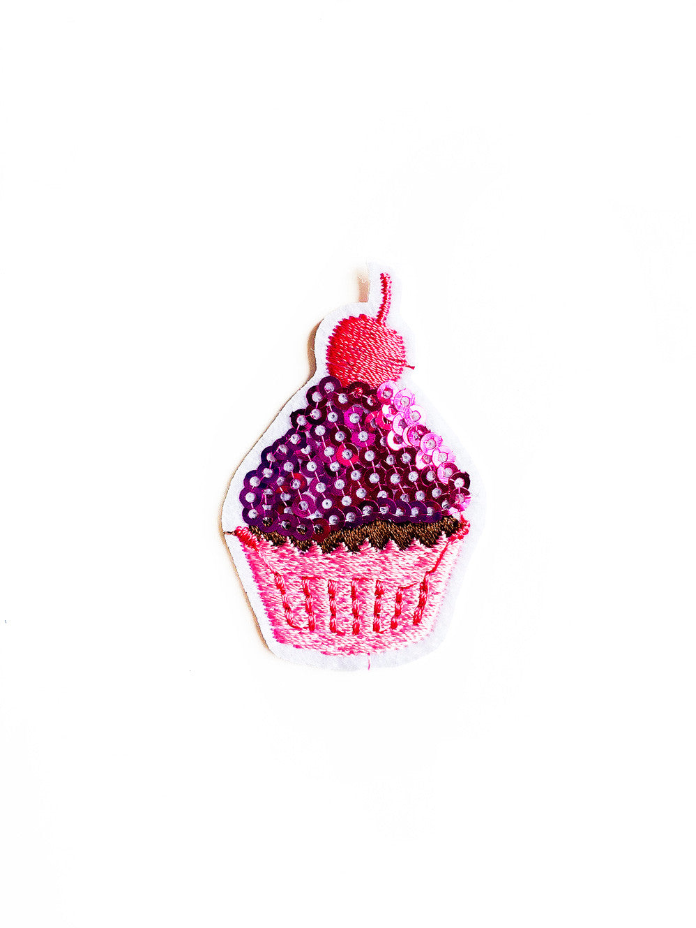 Hot Pink Sequin Cupcake Iron On Patch