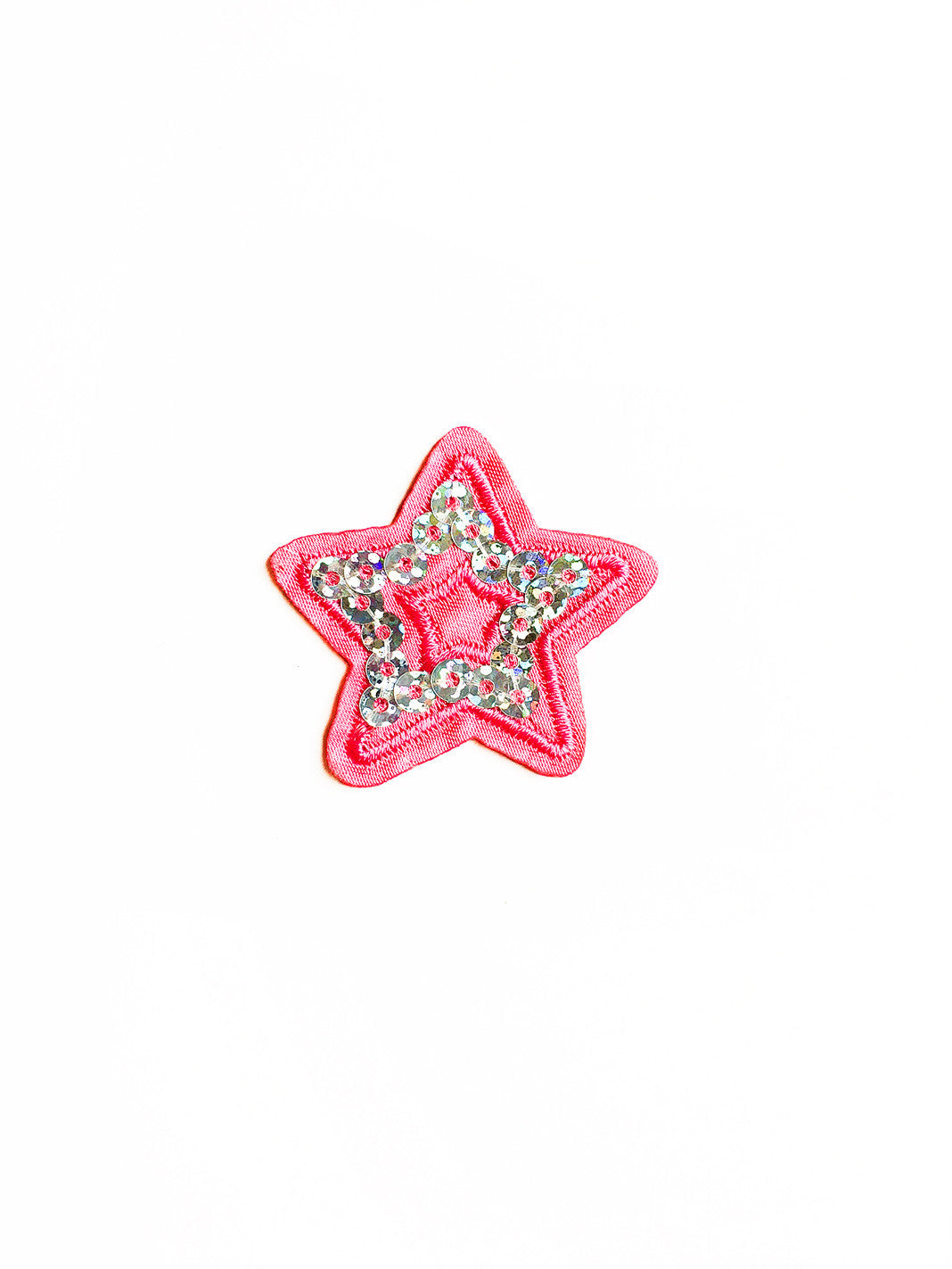 Pink Sparkle Happy Star Iron On Patch - Set of Two