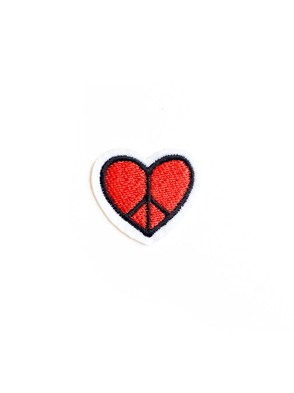 Mini Red Heart Peace Sign Iron On Patch