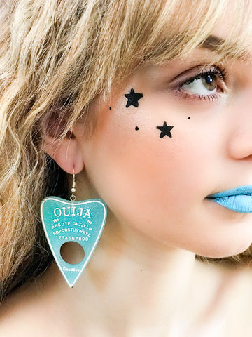 Pastel Blue Ouija Planchette Earrings