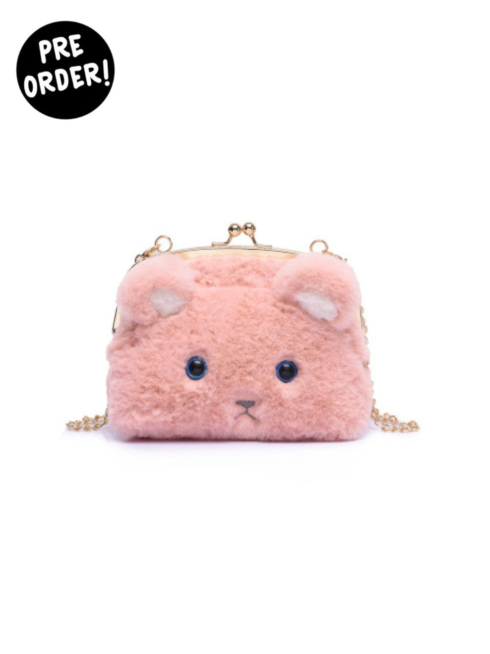 Pastel Pink Fuzzy Mouse Cross Body Purse