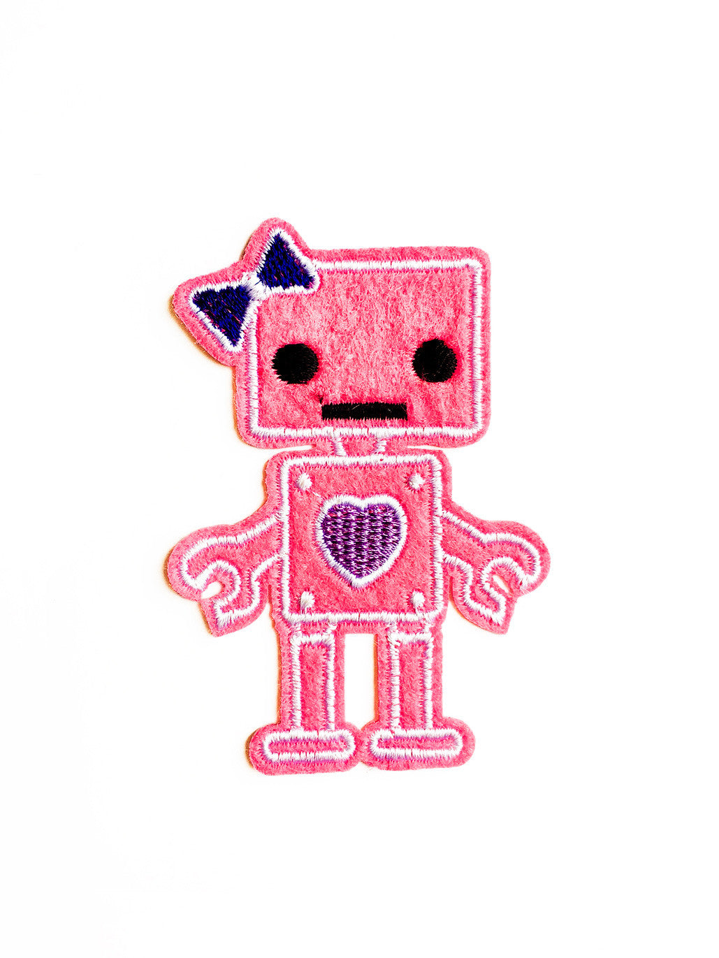 Pink Robot Girl Iron On Patch