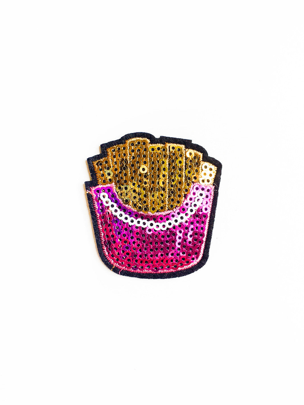 Hot Pink Sequin French Fry Iron On Patch