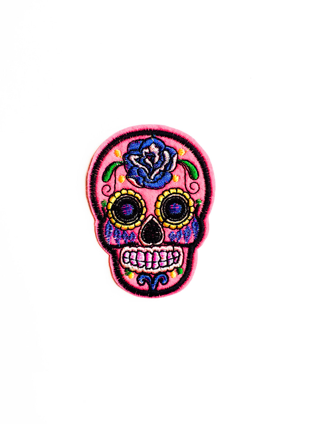 Pink Sugar Skull Iron On Patch