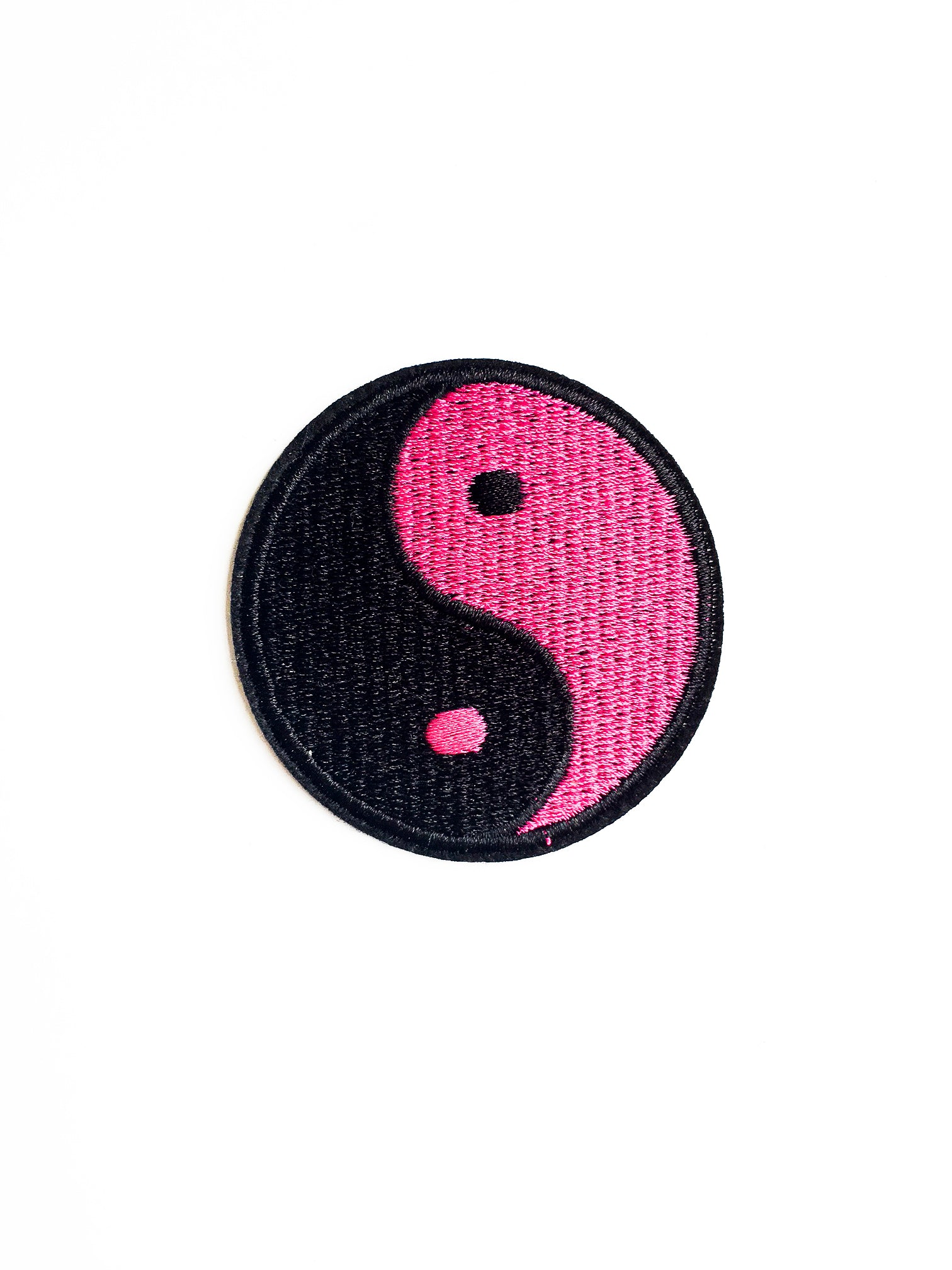 Pink and Black Ying Yang Iron on Patch
