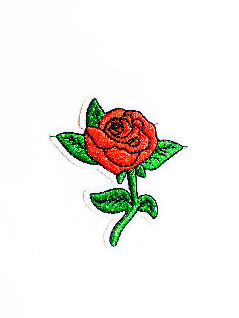 Red Rose Iron On Punk Patch