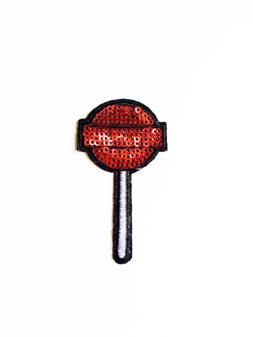 Red Sequin Sucker Punch Iron On Patch