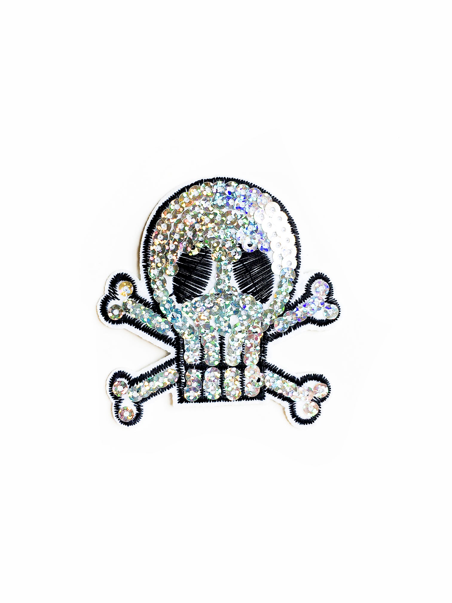 Silver Sequin Skull Iron on Patch