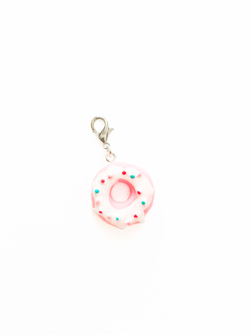 Sprinkled Pink Donut Zipper Pull Charm
