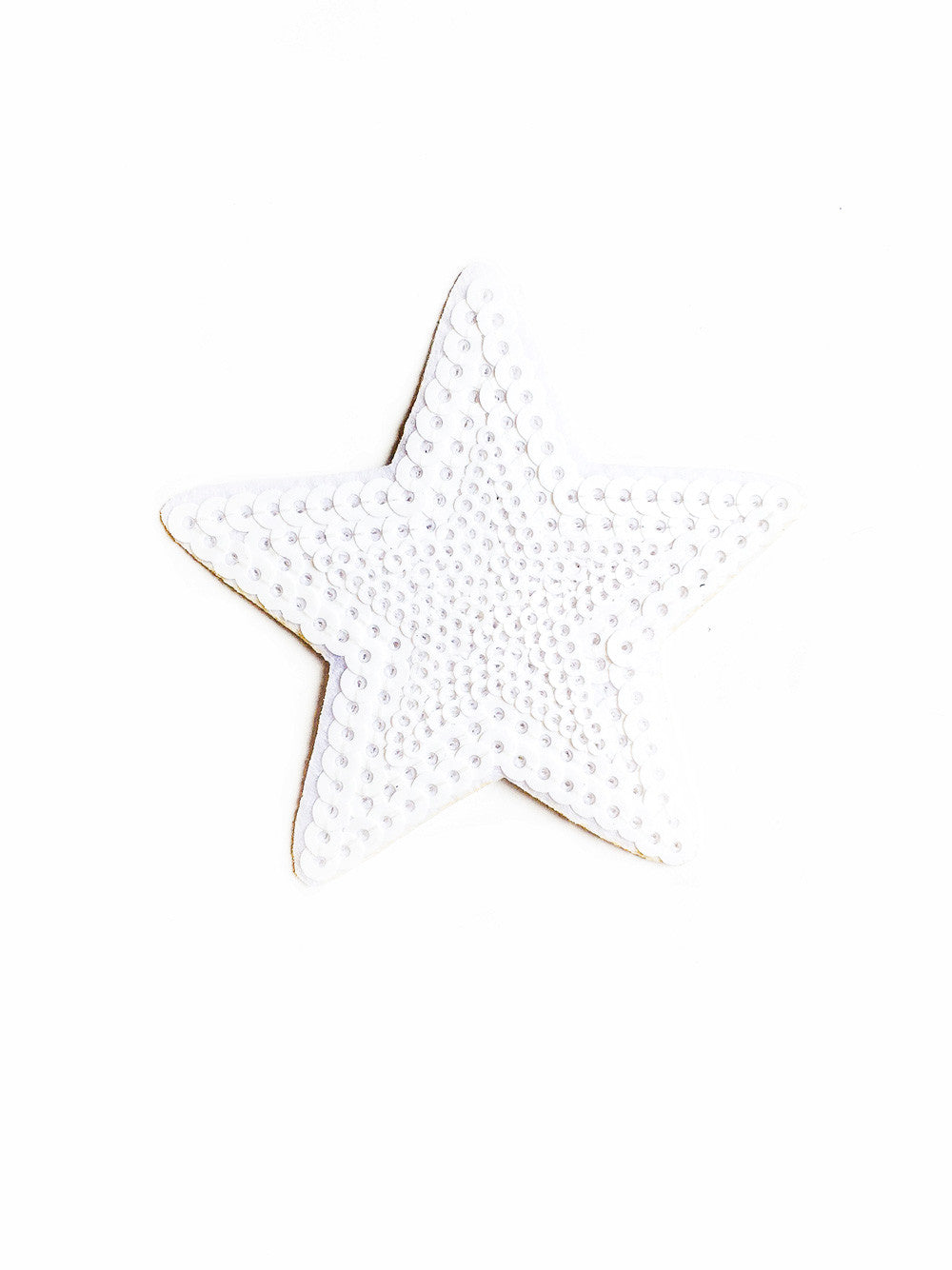 White Sequin Star Iron On Patch