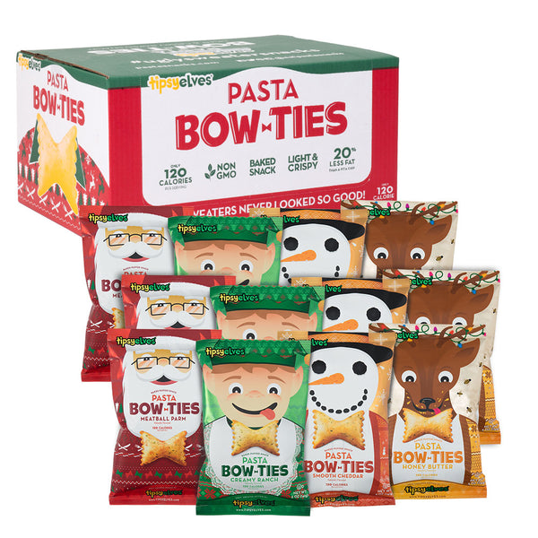 Pasta Bow Ties Ugly Sweater Holiday Party - Variety 12-pack (5oz.)