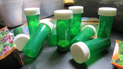 50 Green Seed Saving Bottles with Lids (Bulk)