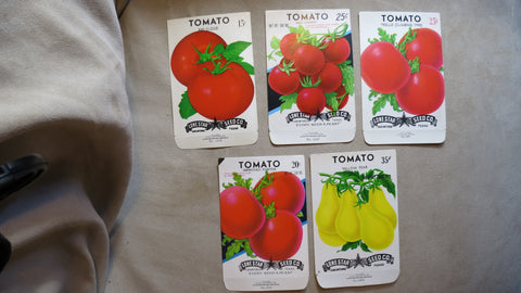 Garden Collectibles: Vintage Seed Package Set 2 of 5 Vintage Tomato Seed Packs