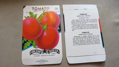Garden Collectibles: Vintage Seed Package Tomato Improved Porter
