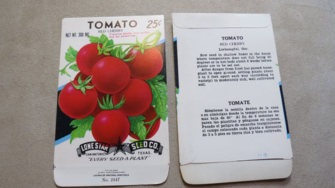 Garden Collectibles: Vintage Seed Package Tomato Red Cherry (No Seeds - Collectible Pack Only)