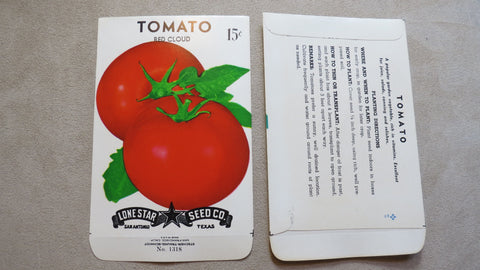 Garden Collectibles: Vintage Seed Package Tomato Red Cloud (No Seeds - Collectible Pack Only)
