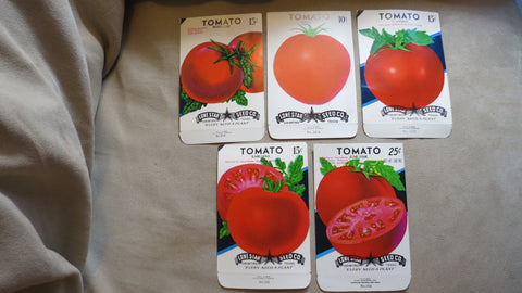 Garden Collectibles: Vintage Seed Package Set 1 of 5 Vintage Tomato Seed Packs (No Seeds - Collectible Pack Only)